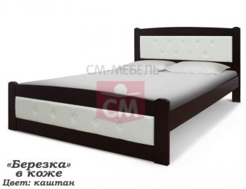 """Кровать """"Берёзка"""" в коже"""